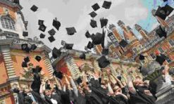 """insert picture word press graduation students """"hats in air"""""""